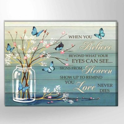 Zalooo Sympathy Canvas Gifts When You Believe Butterfly Wall Art Decor