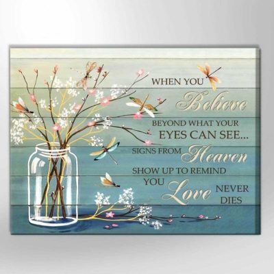 Zalooo Sympathy Canvas Gifts When You Believe Dragonfly Wall Art Decor